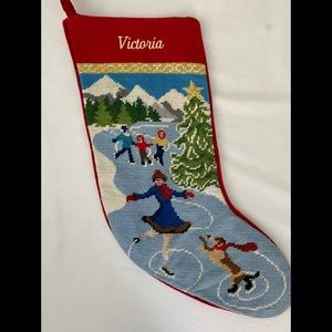 "Christmas Stocking ""Victoria"" Ice Skate Lands End"